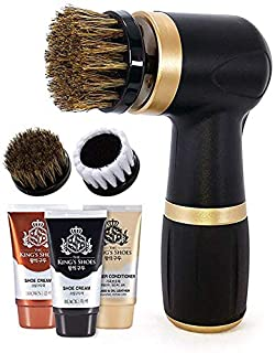 Electric Shoe Polisher Kit (10 Piece) - Quick & Easy Shine, Portable Handheld Machine for Leather Shoes Polish and Care, 6...