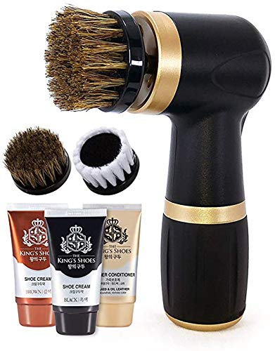 Electric Shoe Polisher Kit (10 piece) - Quick & Easy Shine, Portable Handheld Machine for Leather Shoes Polish and Care, 6 Brushes, Black & Brown Shoe Cream, Leather Conditioner Set, for Home Office