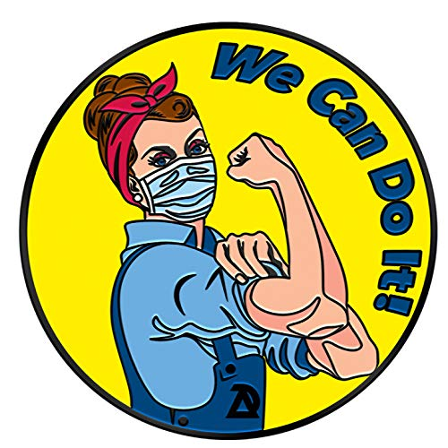 ADESIGNSTORE COVID-19 Coronavirus Lapel Pin - We can do it Covid 19 Enamel Jacket Lapel Pin - Mask Rosie The Riveter Backpack Pin - Memorial Corona Pin Brooch Badges Clothes Bags Shirt (1)