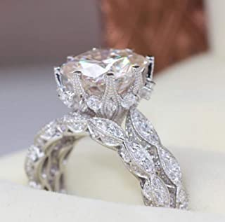 Zhiwen 18K White Gold Plated Wedding Ring Set Eternal Love Collection Anniversary Promise Ring Flash Diamond Round Engagement Ring Size 6-10 (US Code 6)