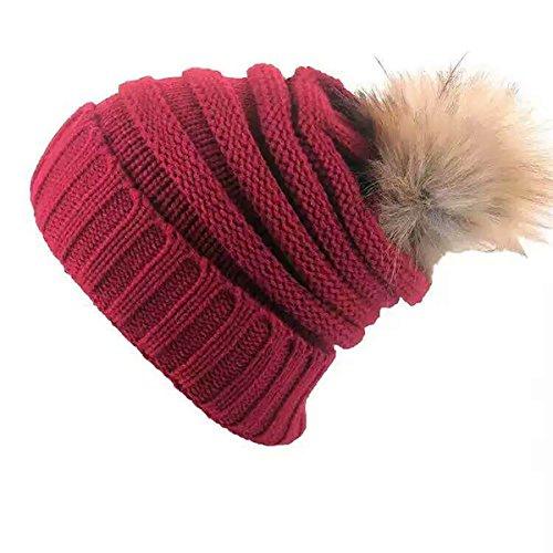 Bukely Damen Wintermützen Beanie Mütze Flecht Muster Beanie Mütze mit Bommel Strickmützen Winter (Rot)