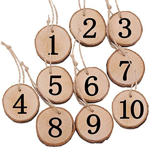 inherited 10pcs Tischnummern Hochzeit Holz Nummern, Rustikale Hochzeit Baum Scheibe Tisch Zahlen Hängende Dekoration Herzstück für Kunsthandwerk Wand Decor Hochzeit DIY Projekte(Nummer 1-10)