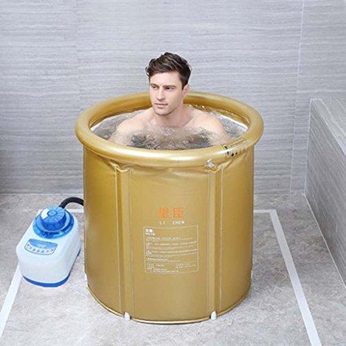 Ali@ Cuve pliante de vapeur de chauffage thermostatique de PVC favorable à l'environnement pour l'usage d'intérieur/extérieur (Couleur : Or rose, taille : Large bathtub)