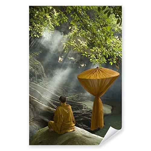 Postereck - 0156 - Buddhistischer Mönch, Gebet Budda Religion Wald - Kunst Wandposter Fotoposter Bilder Wandbild Wandbilder - Poster - 4:3-81,0 cm x 61,0 cm