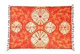 Ciffre Sarong Pareo Wickelrock Batik Dhoti Wickelrock Wickelkleid Orange + Schnalle