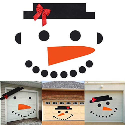 ALHONLY Snowman Face Christmas Garage Door Decoration Decals- DIY Snowman Non-Woven Archway Door Decoration with Hat Bow Eyes Nose Teeth (16 Piece Set - 31 8 inches Hat)