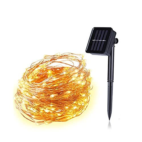 Yirunfa Guirnalda Luces Exterior Solar 5M 50LED, 8 Modos Cadena de Luces de Alambre de Cobre Guirnaldas Solar Impermeable Decoración para DIY Navidad Jardín Ventana Valla Boda Decoración