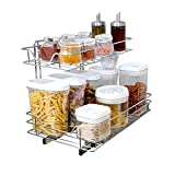 Smart Design 2-Tier Shelf Pull-Out Cabinet Organizer - Medium - Roll-Out Extendable Sliding Drawer - Steel Metal - Holds 100 lbs. - Cabinets, Cookware, Bakeware Items - Kitchen (14 x 18-32) [Chrome]