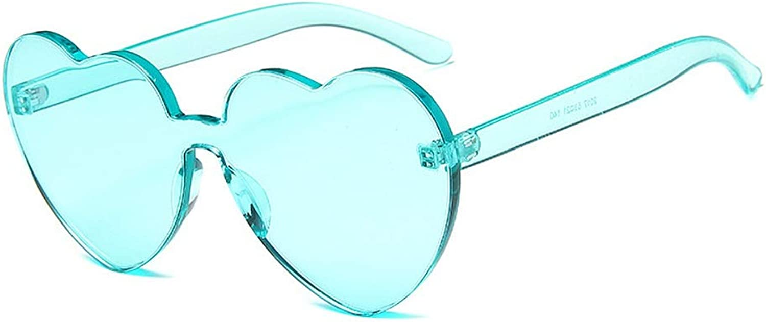 Women's Sunglasses One-Piece Heart Shape Lady's Frame Sunglasses Cool UV Predection for Women Clear Lens Driving (color   Green)