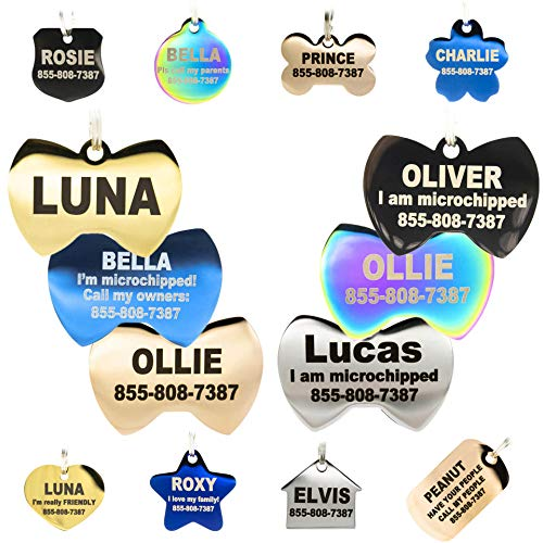 PetANTastic Engraved Dog Tags Personalized - Stainless Steel Engraved Dog Cat ID Tags Front & Back up to 8 Lines of Text Color Plating Gold, Rose Gold, Blue, Black, Nebula
