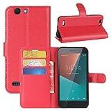 HualuBro Vodafone Smart E8 Hüllen, Leder Brieftasche Etui LederHülle Tasche Schutzhülle HandyHülle [Standfunktion] Handytasche Leather Wallet Flip Hülle Cover für Vodafone Smart E8 (Rot)