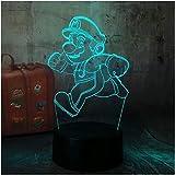 Dibujos animados Cute Running Super Mario Action 3D Led Rgb Touch Night Light Figura 7 colores que cambian la decoración Fiesta en casa Lámpara de Navidad