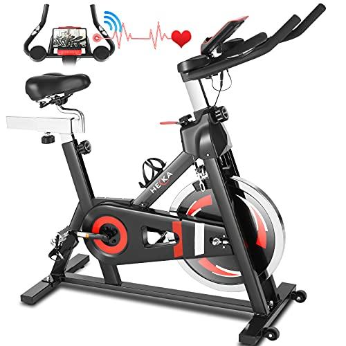 HEKA Cyclette Casa con Disco d'Inerzia da 20kg, Cyclette per casa Bicicletta Allenamento, Bici da Spinning Cyclette, Spin Bike Cyclette con l'App, Manubrio e Sella Regolabili, Portata Massima 150 kg
