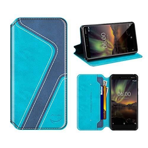 MOBESV Smiley Nokia 6 2018 Hülle Leder, Nokia 6.1 Tasche Lederhülle/Wallet Hülle/Ledertasche Handyhülle/Schutzhülle mit Kartenfach für Nokia 6 2018 / Nokia 6.1, Aqua/Dunkel Blau