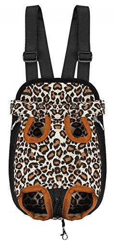 Samia Pet Dog Puppy Cat Carrier Five Holes Backpack Double Shoulder Straps Canvas Cotton Front Chest Backpack Bag(leopard, Small)
