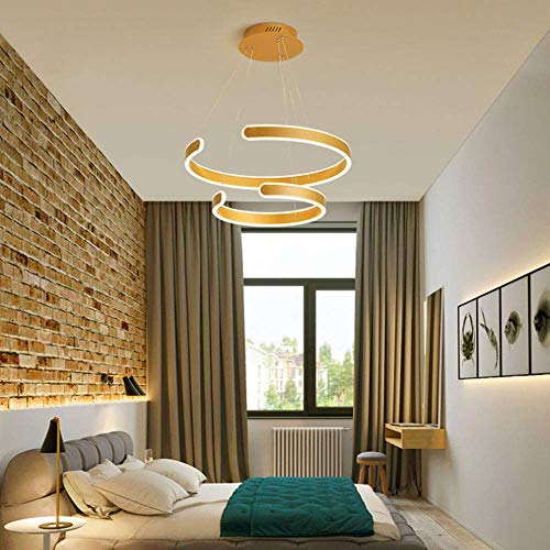 AXFALO Lámpara colgante LED de 70 W con 2 anillos, para comedor, moderna, regulable, con mando a distancia, para mesa de comedor, altura regulable, color dorado, aluminio, 40 + 60 cm