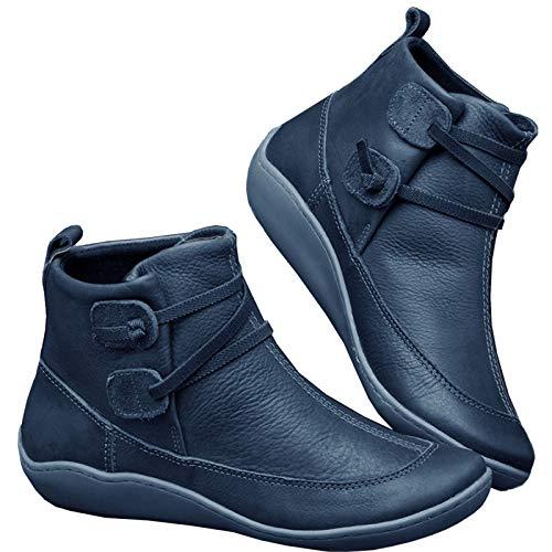 Botín Militar para Mujer Botas de Nieve Zapatos para Invierno Mujer Piel Forradas Calientes Casual Calzado Antideslizante Botines