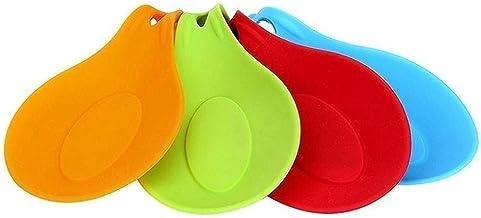 مسند وحامل سيليكوني لادوات المطبخ على شكل ملعقة، مقاوم للحرارة وسهل التنظيف، 4 قطع