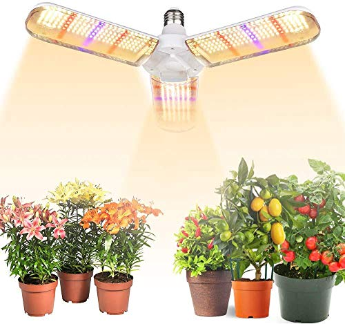 Grow Light Bulb,Flowlamp 414 LED Led Grow Light Bulb E26/E27 150W Sunlike Full Spectrum Plant Grow Lamp with IP54 waterproof Foldable Three-Leaf Lamp Body for Hydroponics Garden Greenhouse Houseplants