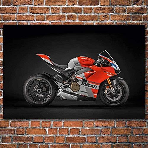 VGSD® Pinturas De Decoración Artística Superbike Ducati Motocicleta Rojo Coche Cuadro Lienzo Carteles Impresiones De Seda Arte De Pared / 60X90Cm-Sin Marco