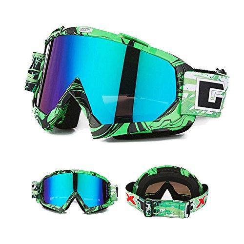 Gafas de esquí, gafas de motocicleta, gafas protectoras, gafas deportivas de invierno de esquí y snowboard, para hombre, mujer y niños, color verde, tamaño medium