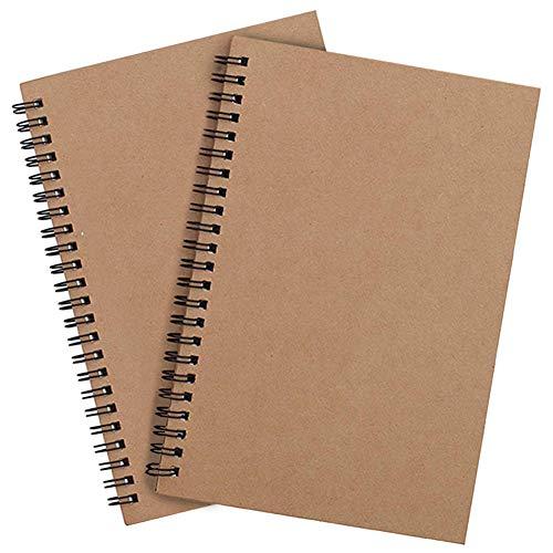 A4 Skizzenbuch mit Spiralbindung 2 Stück, Schwarzem Kraft Cover Blanko Skizzenblock,100 Blatt / 50 Weiße Säurefreies Zeichenpapie Perfekt für Reisen Memos, Malen und Graffiti