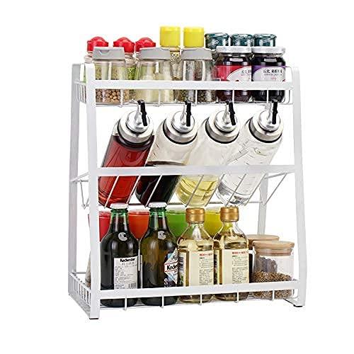 Homease Gewürzregal Stehend 3-Ebene Küche Organizer Metall Regal Große Kapazität Veranstalter, Kann Gewürzflaschen, Ölflaschen, Gewürzregal für Küche, Speisekammer Lagern Weiß