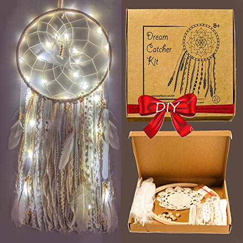 DIY LED Dream Catcher Kit 12x30 inches - Make Your Own Bohemian Wall Hanging with All-Natural Materials - Creative Activity Set Includes Premium Lace, Yarn, Feathers and Wooden Hoop