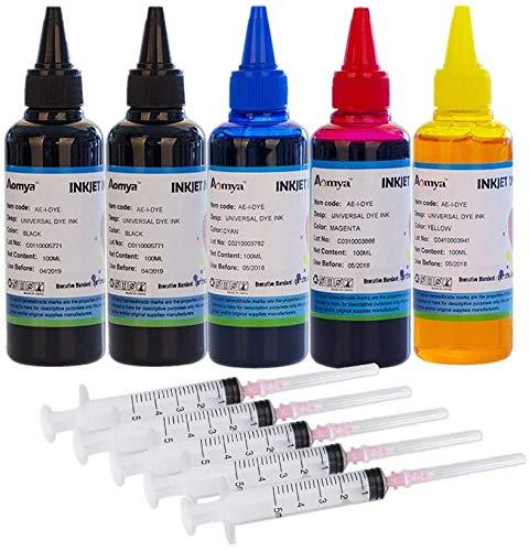 Aomya - Kit de recarga de tinta para Canon 250 251 270 271 225 226 1200 2200 PG245 CL246 PG210 (5 cartuchos de tinta recargables) )