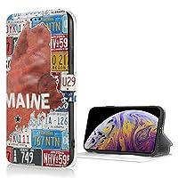 アメリカ ナンバープレート iPhone Xs 適用 ケース 手帳型 iPhone X 適用 ケース 財布型 高級PUレザー カード収納 スタンド機能 スマホケース 耐衝撃 全面保護 携帯カバー