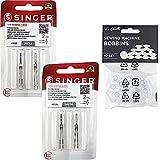 Pack de 4 Agujas Dobles para Máquinas de Coser Singer 2025 Grosor 80/12 y 90/14 Separación 3mm Universales 130/705 H (Talón Plano de un Lado) Twin Needles Gemelas