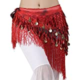 MUNAFIE Belly Dancing Belt Colorful Waist Chain Belly Dance Hip Scarf Belt Triangle Skirt (Red)