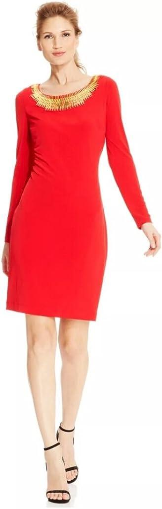 Max 84% OFF Calvin Klein Women's Long-Sleeve D Cocktail Sheath Super sale period limited Hardware-Trim