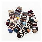 PJRYC 5 Pares de Calcetines de Lana Caliente Gruesos Invierno y Estilo étnico de otoño Calcetines for Hombres a Rayas (Color : Mix, tamaño : One Size)