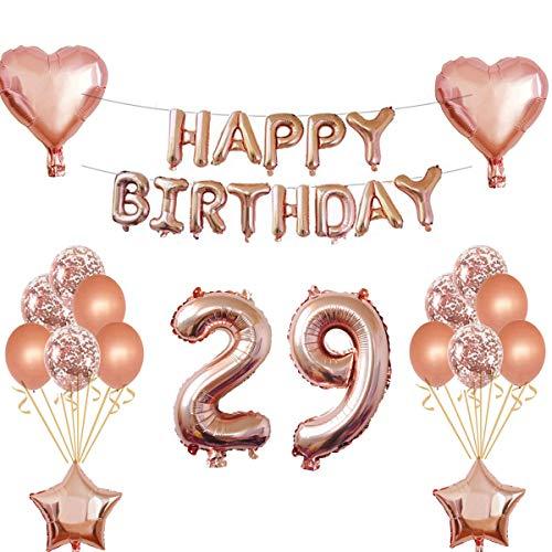 Oumezon - Decoración un cumpleaños, para 29 años, para chica, de color oro rosado, guirnalda de «Happy Birthday», globos con confeti, globos brillantes, números, decoración para fiesta