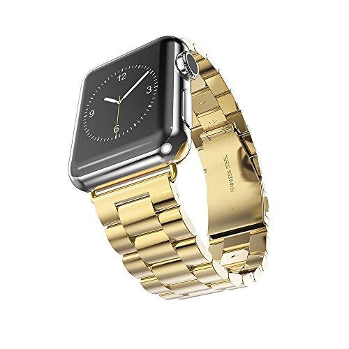 XIHAMA cinturino per Watch Series 4, cinturino da polso in metallo con cinturino di ricambio in acciaio inossidabile per iWatch Series 4 3 2 1 (42MM, gold)