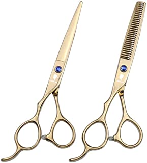 Professional Razor Blades Left Handed Hair Cutting Scissors - Barber Thinning Shears for Left Hand - 6.0