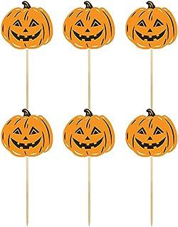 PRETYZOOM Toppers per Torta di Zucca Decorazioni per Cupcake in Carta Decorazioni per Feste di Halloween Festival