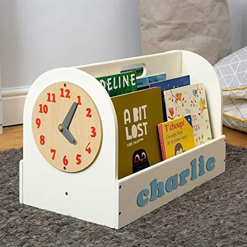 Tidy Books® Caja de Madera para Libros (Edades 3-10) Estantería para Libros Personalizada, Reloj de Juego extraíble, Crema, 35 x 55 x 31 cm, ecológico, Hecho a Mano, el Original Desde 2004