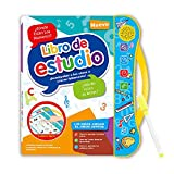 Gimgong Baby Intelligence Learning Sound Book, Spanish and English Bilingual Learning,Children's Songs Musical Book Music Toys Best Interactive and Educational Gift for 1-4 Year Old Baby (Blue)