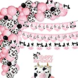 HEETON Cow Happy Birthday Banner and Cake Topper Pink Party Supplies Decorations Cow Balloon Garland Farm Zoo Animal Themed One Birthday Party Baby Girl Photo