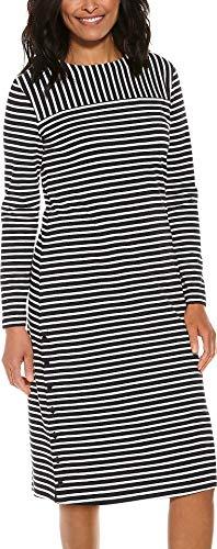 Coolibar UPF 50+ Women's Panorama Dress - Sun Protective (X-Large- Black/White Stripe)