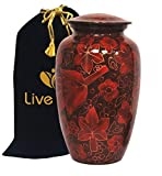 Floral Crimson Cremation Urn for Human Ashes - Adult Funeral Urn Handcrafted - Affordable Urn for Ashes - Large Urn Deal