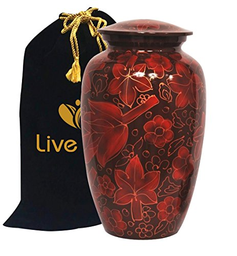 Floral Crimson Cremation Urn for Ashes