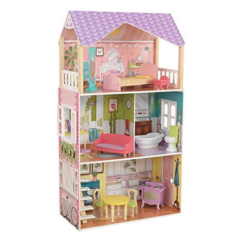 KidKraft 65959 Poppy Puppenhaus aus Holz mit Zubehör für 30 cm große Puppen mit 11 Accessoires und 3 Spielebenen