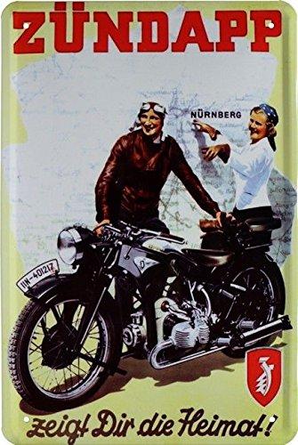 Unbekannt Tin Sign Blechschild 20x30 cm Zündapp zeigt dir die Heimat Motorrad Bike Werbung historisch Oldtimer Metall Schild