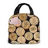 Tapón de botella de vino con bolsa de almuerzo aislada impresa vintage para mujeres capacidad, bolsa de almuerzo reutilizable