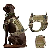 Nobrand Taktisches Hundegeschirr, Militär, Hundegeschirr, Arbeitsweste, Molle, verstellbar, Trainingsweste, Patrol K9, Geschirr mit Griff und einer MOLLE-Tasche (L, CP Camouflage)