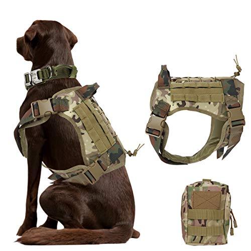 nobrand Arnés de perro táctico militar arnés de perro de trabajo chaleco Molle chaleco de entrenamiento ajustable Patrol K9 arnés con asa y una bolsa MOLLE. (M, CP camuflaje)