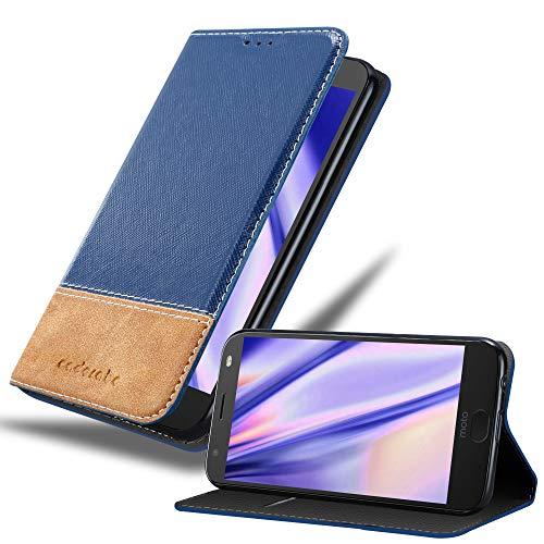 Cadorabo Hülle für Motorola Moto X4 - Hülle in DUNKEL BLAU BRAUN – Handyhülle mit Standfunktion & Kartenfach aus Einer Kunstlederkombi - Case Cover Schutzhülle Etui Tasche Book
